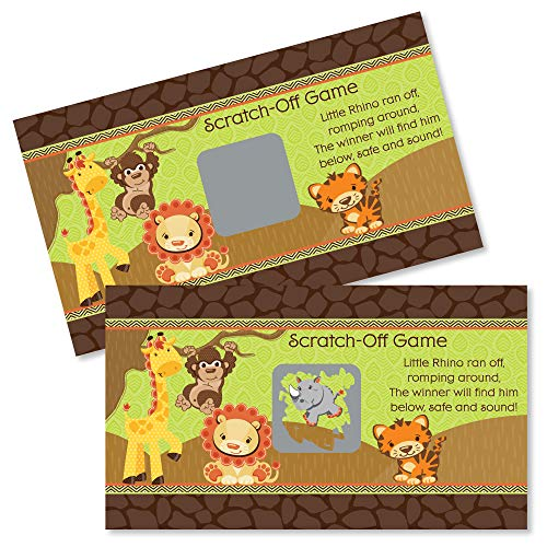 Big Dot of Happiness Funfari - Fun Safari Jungle - Baby Shower or Birthday Party Game Scratch Off Cards - 22 Count