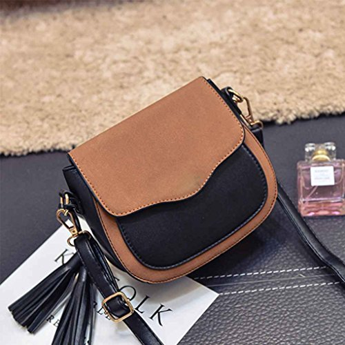 Retro Bag Lady Body Bag Simple Girl Cross Mujer de Leather marrón borla Messenger Mengonee Adornos Fashion Bag PU q4vF00