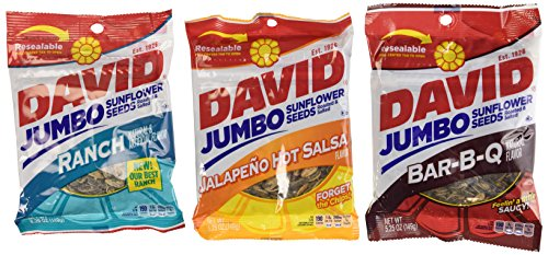 Ranch Salsa - David Sunflower Seeds 5.25 oz Variety Pack (Pack of 6) 2 Bags of David Sunflower Seeds BBQ Natural Flavor + 2 Bags of David Sunflower Seeds Ranch Flavor + 2 Bags of David Sunflower Seeds Jalapeno Hot Salsa Flavor