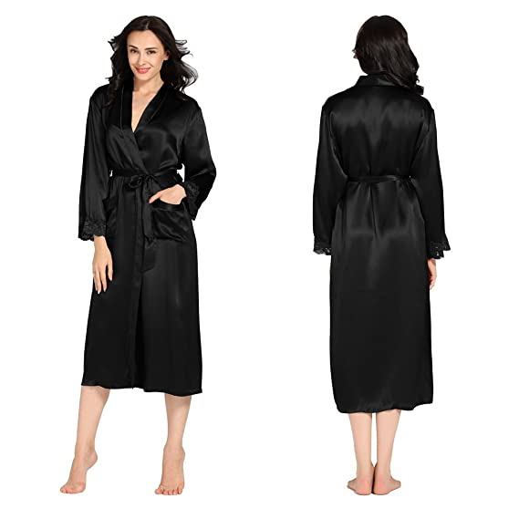 LILYSILK Women\'s Silk Dressing Gown Long Tea Length Robe 22 Momme ...