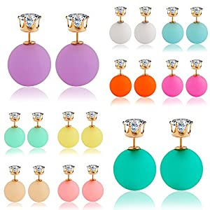 Winter's Secret Rose Red Double Face Temperament Girl Sweet Candy Color Zircon Stud Ball Earring