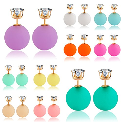 Twister Costume Couples (Winter's Secret Yellow Double Face Temperament Girl Sweet Candy Color Zircon Stud Ball Earring)