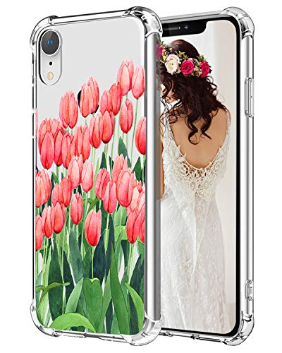(Hepix Floral iPhone XR Case Tulips Flowers Xr Phone Cases, Clear Flexible Soft TPU Protective Xr Cover Cases with 4 Reinforced Bumpers, Slim Anti-Scratch for iPhone XR (2018) 6.1