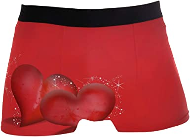 SUABO Men Boxer Briefs Polyester Underwear Men 2 Pack Boxer Briefs for Valentines Gift with Valentines Day Pattern