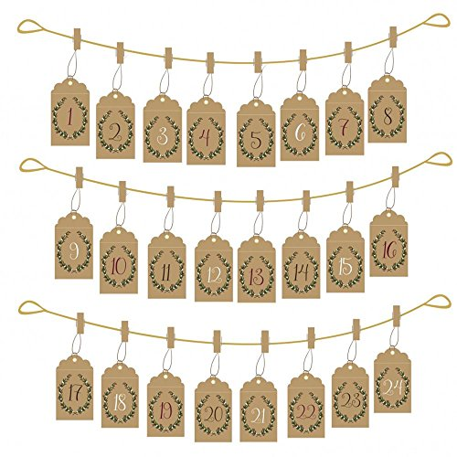 Envelope Hanging Advent Set Pockets / Pegs / Gold String / Xmas x 24