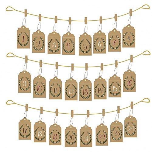 Envelope Hanging Advent Set Pockets / Pegs / Gold String / Xmas x 24