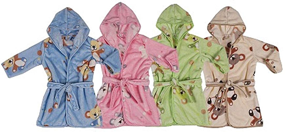 BlueberryShop Printed Luxurious Hooded Soft Warm and Fluffy Velour Bathrobe Robe 1-2 Yrs Dressing Gowns 1-7 Yrs 1-7Yrs