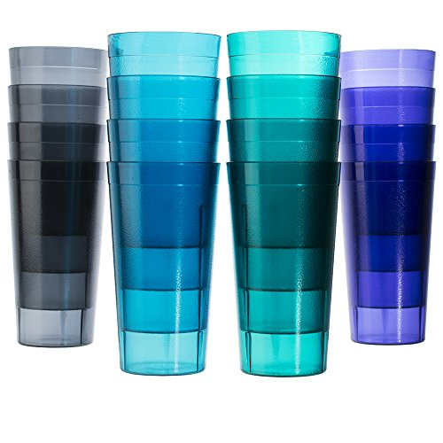 Cafe 20-ounce Break-Resistant Plastic Restaurant-Style Beverage Tumblers | Set of 16 in 4 Coastal Colors by US Acrylic