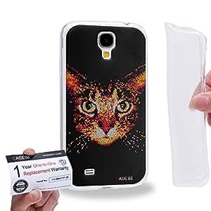 Case88 [Samsung Galaxy S4] Gel TPU Carcasa/Funda & Tarjeta de garantía - Art Aztec Design Red Cat Animal Faces 1280