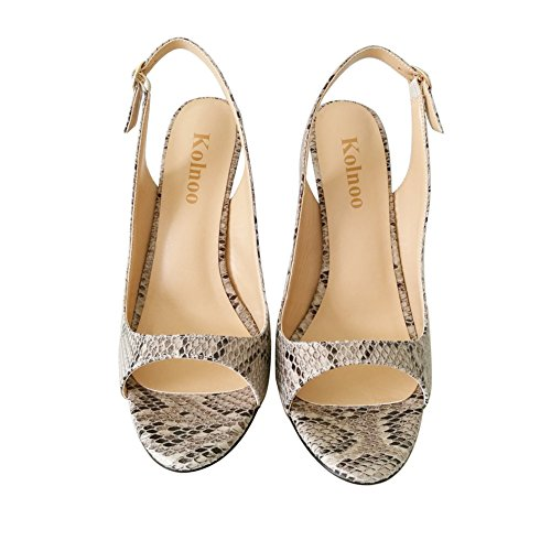 Kolnoo Women's 120mm Open Toe Slingback Sandals Stiletto Buckle Patent Shoes Snakeskin CfMKX