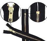 """YKK 22"""" Zipper 5 Zipper for Handbags, Boots & Craft Projects ~ Brass Closed Bottom Black (1 Zipper/Pack) Made in USA"""