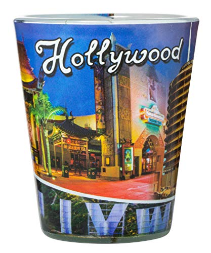 Hollywood California Famous Landmarks Full Wrap Souvenir Shot Glass