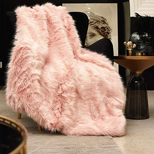 Pink Faux Fur Throw Blanket, Luxury Modern Blush Home Throw Blanket, Super Warm, Fuzzy, Elegant, Fluffy Thick Heavy Decoration Blanket Scarf for Sofa, Couch and Bed, 50''x70''