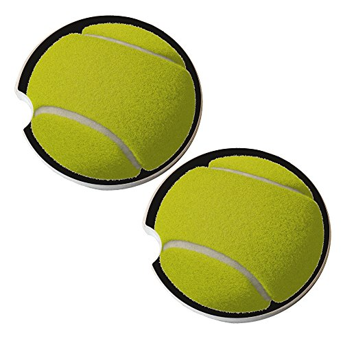 (Tennis Ball - Sandstone Car Drink Coaster (set of 2 coasters))