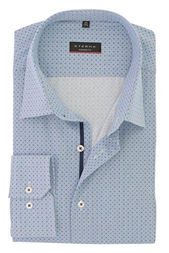 ETERNA Herren Business Hemd Modern Fit mit Geo Kent Kragen Baumwolle Gr. 39 Blau