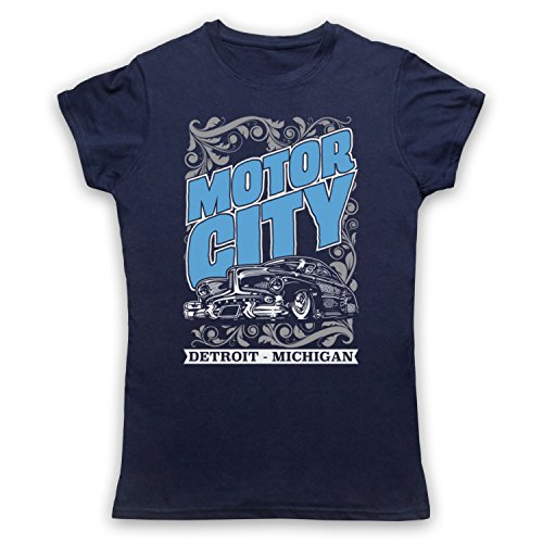 Motor City Detroit Michigan Camiseta para Mujer Azul Marino