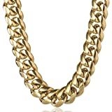 TRIPOD JEWELRY Heavy Thick Men's Hip Hop Miami Cuban Link Chain Choker/Bracelet -14K Gold/White Gold Plated Stainless Steel Cuban Link Chain Necklace 8mm,10mm,12mm,14mm,16mm (14K Gold 12mm, 20)