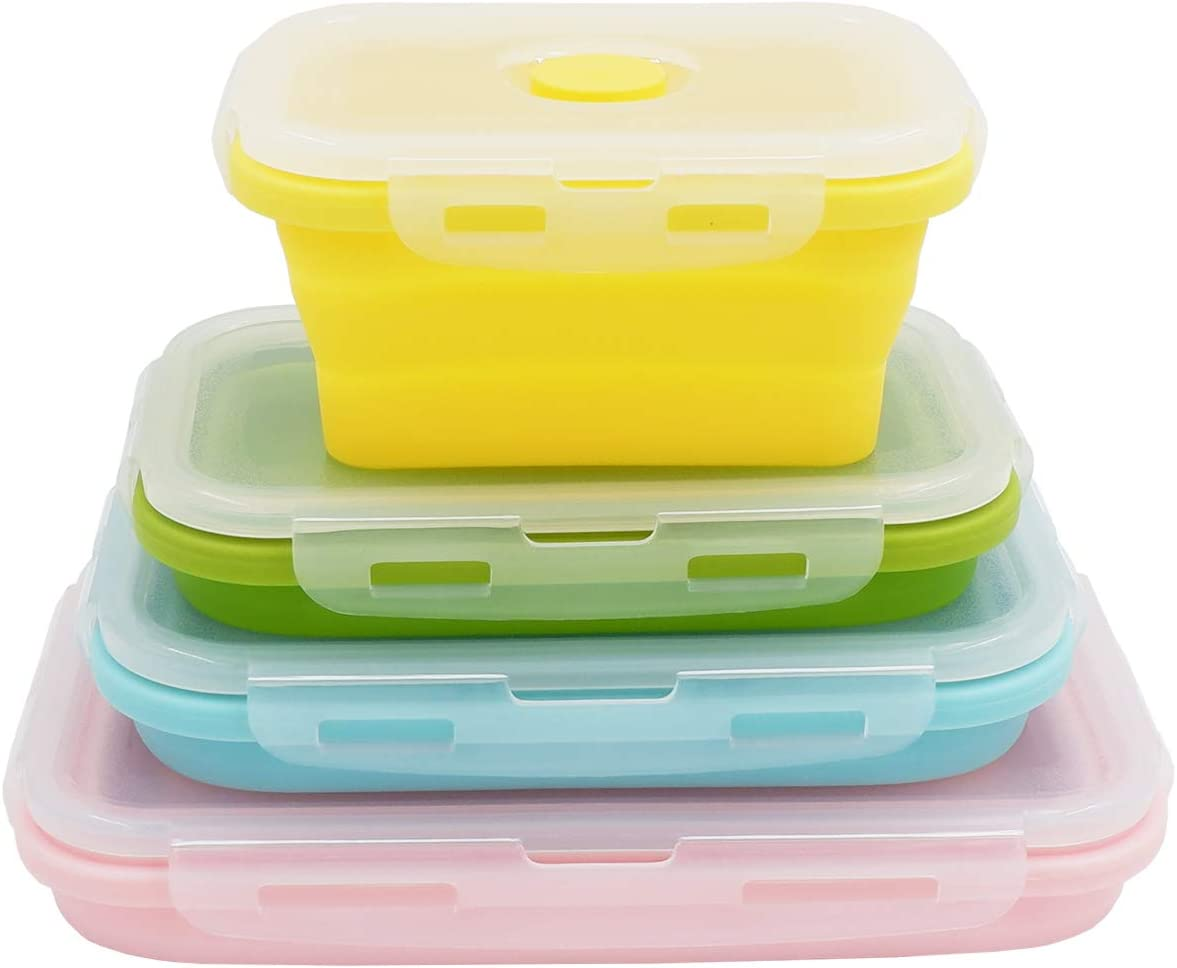 Duoyou Collapsible Silicone Lunch Bento Box, Portable Food Storage Container Outdoor Picnic Box Space Saving, Microwave, Dishwasher and Freezer Safe, 3 Pcs Set (Four Colors Set)