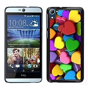Caucho caso de Shell duro de la cubierta de accesorios de protección BY RAYDREAMMM - HTC Desire D826 - Colorful Hearts Verde Amarillo Rojo Rosa