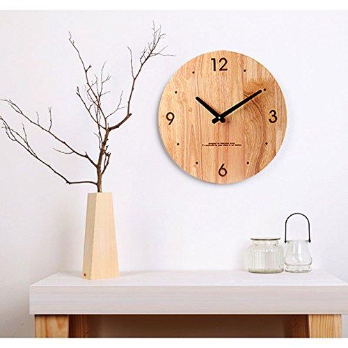 12インチの木の壁の時計リビングルームサイレントシンプルなファッションの壁時計北欧 (Color : Black pin) B07CSJ6SDY Black pin Black pin