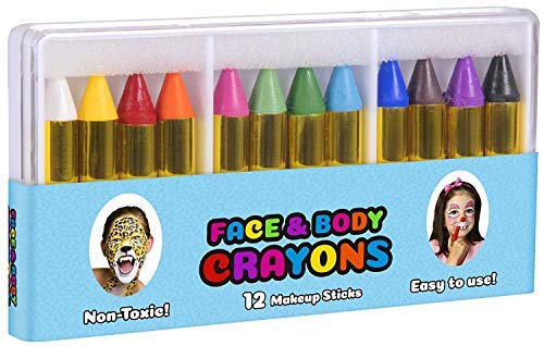 OIG Brands Face and Body Paint Makeup Kit - Professional Special Effect for Kids or Adults - Includes White and Black Crayons, Safe & Non-Toxic for Kids -