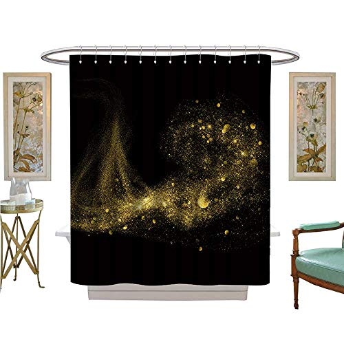 luvoluxhome Shower Curtains 3D Digital Printing Glitter Stars dust Trail on Black Background Bathroom Decor Set with Hooks W72 x L84 ()