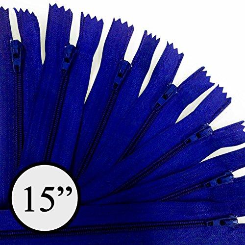 KGS 15 inch Nylon Zipper Zipper | 12 Zipper/Pack (Royal (Royal Zipper)