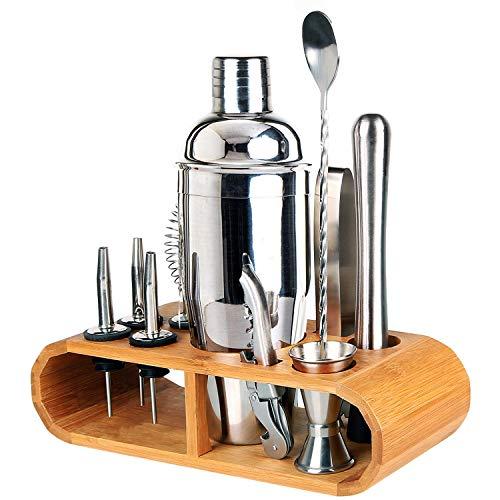 (Jolitac Bartender Kit 12 Pieces, 25 oz Stainless Steel Bar Set Cocktail Shaker Bar Tools with Sleek Bamboo Stand, Martini Mixer, Muddler, Mixing Spoon, Jigger, Liquor Pourers)