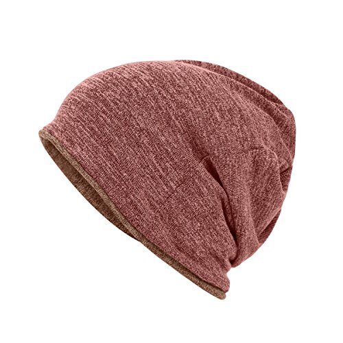 Multifunctional 3 in 1 Classic Plain Baggy Skull Cap Slouchy Beanie Fall/Winter Warm Hat Ear Warm Headband Reversible Neck Gaiter Tube Scarf Cycling Mask Bandana Ski Headgear for Men Women pink brown