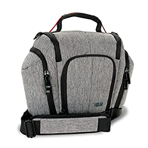 DSLR Camera Bag Sling by Weather Resistant Bottom, Soft Cushioned Interior and Side Lens Storage Pockets by USA GEAR- Works Great for Nikon D500 , Canon EOS 80D , Sony Cyber-Shot DSC-RX10 III and More