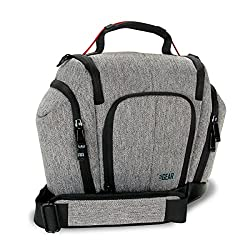 DSLR Camera Case with Weather Resistant Bottom, Soft Cushioned Interior and Side Lens Storage - for Canon EOS T5 / T6 / SL1 / T5i / T6i - Nikon D3300 / D5500 / D3400 / D7000 - Pentax K70 / K50 / K-S2