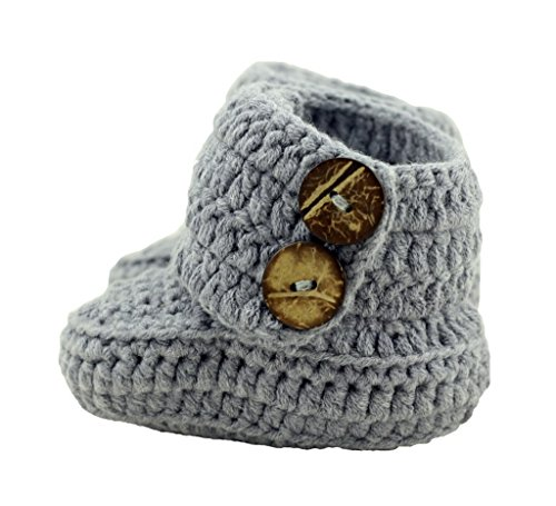 BestKnit Crochet Baby Booties Newborn Socks Handmade Shoes Deep Small Gray