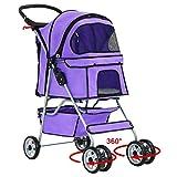 BestPet 4-Wheel Pet Stroller, Classic Purple