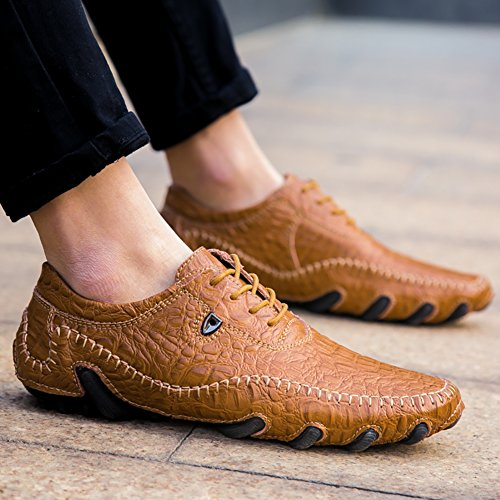 Loafers up Shoes Brown Flats Driving Fashion Casual No Leather 66 Style Town Octopus Men's lace qxP6zw