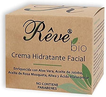 REVE Crema Hidratante Facial Bio - Hombre y Mujer, Día y Noche, fluida y de absorción rápida en la cara para todo tipo de pieles, apta para Veganos y pieles sensibles - 50 ml