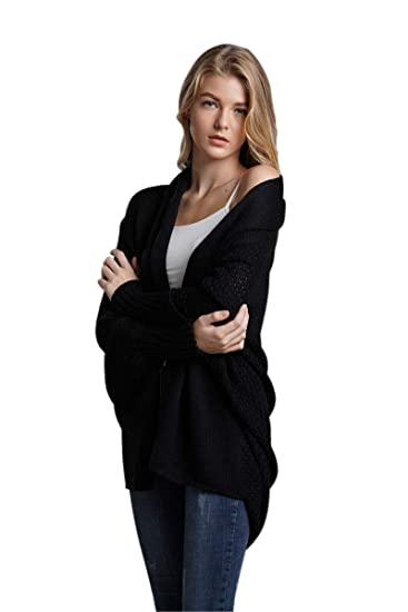 Women Cardigan Knit Sweaters Oversized Batwing Long Sleeve Open Front  Knitwear (Black) 29fce2b45