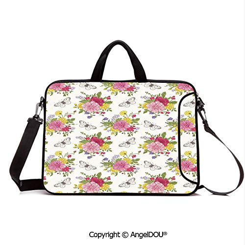 AngelDOU Neoprene Printed Fashion Laptop Bag Peonies Roses Sweet Peas Bell Colorful Bouquet Butterflies Botany Garden Notebook Tablet Sleeve Cases Compatible with Lenovo Asus Acer HP Multicolor