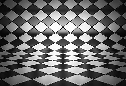 Leowefowa White and Black Grid Background 6x5ft Vinyl Backdrop Black and White Backgroud Checkered Racing Flag Racing Backdrop Boys Party Birthday Event Photo Backdrop Photo Studio Props -
