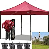AbcCanopy 10x10 Pop up Tent Instant Canopy Commercial Outdoor Canopy with Wheeled Carry Bag and 4x Weight Bag (burgundy)