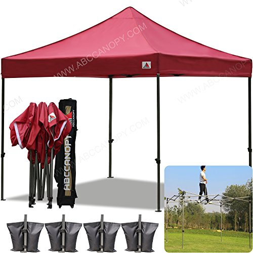 AbcCanopy 10×10 Pop up Tent Instant Canopy Commercial Outdoor Canopy with Wheeled Carry Bag and 4x Weight Bag (burgundy)