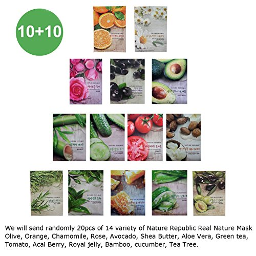 Republic Olive - Nature Republic Real Nature Mask Sheet 10+10 (total 20pcs)
