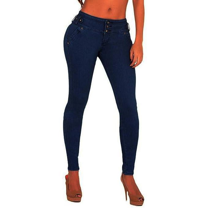 ... Jeans Mujer Pantalones elásticos de Cintura Alta Straight Denim Pants  Sexy Pantalones lápiz Pantalones de Mezclilla Casual  Amazon.es  Ropa y  accesorios 997d896628f
