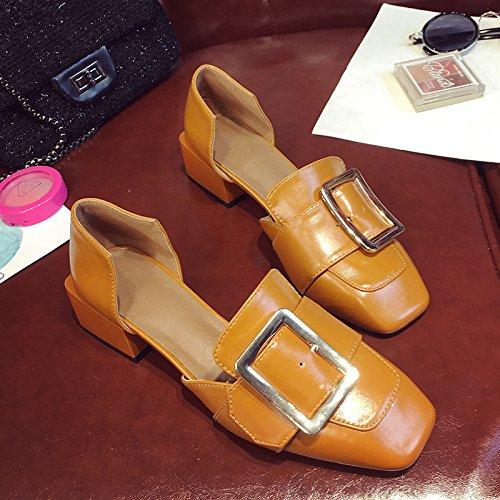 GAOLIM Zapatos De Mujer Zapatos De Mujer En El Verano Y Con El Partido En El Cargo De Jefe De Tierra Pequeños Zapatos Amarillo