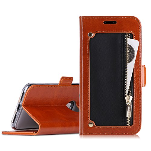 iPhone X Wallet Case, Homelove Genuine Leather Wallet Case with Zipper Coin Pocket and Kickstand Feature for Apple iPhone X - Take Online Debit Stores That