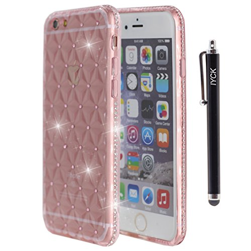 iPhone 6S Plus Case, iYCK [3D Prism] Soft Flexible TPU Rubber Crystal Clear [Studded Full Frame and Back] Diamond Bling Rhinestone Protective Back Cas…