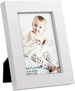 3.5x5 inch Picture Frame Made of Solid Wood High Definition Glass for Table Top Display and Wall Mounting Photo Frame White