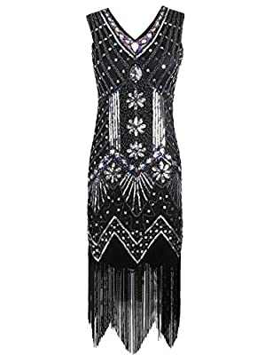 KAYAMIYA Women's 1920S Sequined Beaded Floral Embellished Fringe Gatsby Flapper Dress