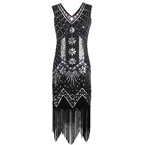 d3438cd4 KAYAMIYA Women's 1920S Sequined Beaded Floral Embellished Fringe Gatsby Flapper  Dress good