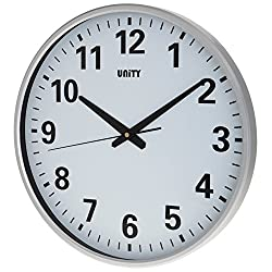 Unity UNSW400 Tejo Clear Dial Ultra Quiet Sweeping Wall Clock, Silver, 15 X-Large