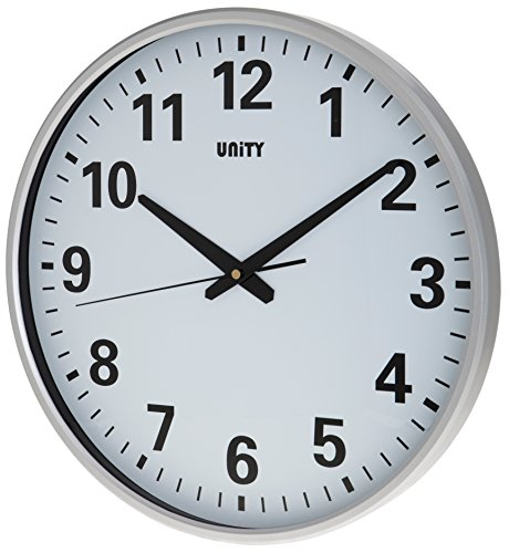 Unity UNSW400 Tejo Clear Dial Ultra Quiet Sweeping Wall Clock, Silver, 15